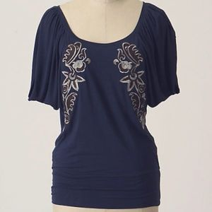 Anthropologie Deletta Blue Embroidered Blouse
